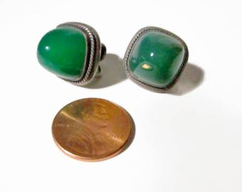 Vintage Chrysoprase and Sterling Earrings Screw Back Marked Trezza