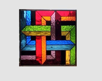 Stained glass window panel rainbow geometric stained glass panel window hanging abstract suncatcher 0273 13 1/4 x 13 1/4