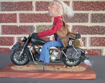 Art Doll/Art/Doll/Polymer Clay/Hand Sculpted/Sculpted/OOAK/Collectible/One of a Kind/Motorcycle Rider/Old Hippie/Motorcycle