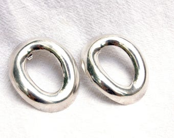 Mexican Hoop Earrings Large Modern Sterling Silver Posts Modernist Oval Hoops Vintage Taxco Mexico Statement Jewelry