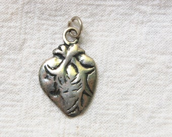 Anatomical Heart Milagro Vintage Sterling Silver Pendant Vintage Mexican Jewelry Romantic Gift for Her Made in Mexico