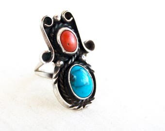 Red Coral Turquoise Ring Size 6 Vintage Sterling Silver Southwest Boho Cowgirl Jewelry Rope Bezel