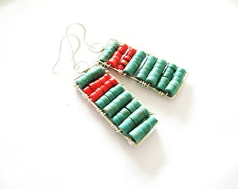 Genuine Turquoise Earrings, Turquoise Coral Earrings, Sterling Earrings,Gemstone Earrings,Kingman Turquoise Earrings,Statement Earrings