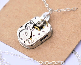 steampunk watch necklace - small vintage watch mechanism on solid sterling silver chain