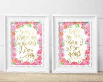 Gift For Goddaughter - Girl Baptism Gifts - Goddaughter Gifts - Baptism Gift Girl - Floral Nursery Decor - Pink Gold Nursery - Jeremiah 1 5