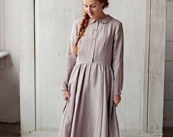 Loose Linen Dress, Women Dress, Peter Pan Collar Dress, Lavender Dress, Garden Dress, Cream Maxi Dress, Summer Dress, Linen Day Dress