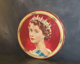 Vintage Queen Elizabeth II Coronation Gray & Dunn Biscuit Tin