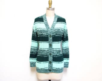 1970s Sweater   Green Space Dyed Sweater   1970s Cardigan   size medium