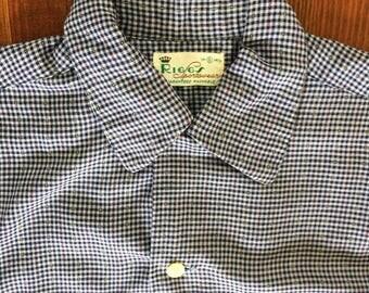 1950s Vintage Riggs Sportswear Blue Checkered Plaid Multicolor Speck Gabardine Shirt Chin Loop