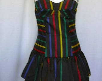 Popy Moreni Paris French Designer Collectable Striped Bustier Tutu Style Ruffle Dress SZ. 40 UK 10-12 US 6-8