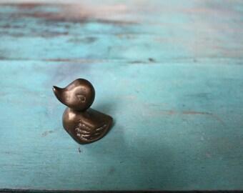 Tiny Baby Brass Duck, Duck Figurine, Vintage Brass Figurine, Brass Duck, Duck Decor, Vintage Brass, Brass Animal, Lake Decor, Cabin Decor