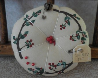 Primitive Cherry Pie Pin Keep Hand Painted Cherry Branches Pin Cushion Ornament