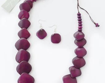 Purple Plum Natural Tagua Squares Necklace and Earrings