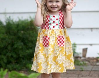 Yellow Rose Retro Dress with Halter Back