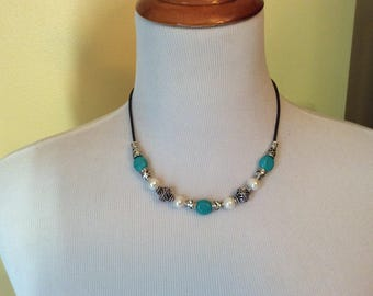 Turquoise and Pearl necklace with leather cord and Filigree beads Boho leather necklace