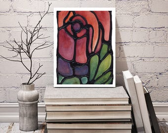 Red Rose Print - FREE Shipping -  Stained-Glass - Red Floral Wall Hanging - Art Nouveau Artwork - Burgundy Flower Room Decor - Floral Art