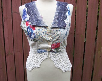 Gypsy Clothing BOHO Summer Cropped Top Patchwork with Vintage Lace Size Small 4