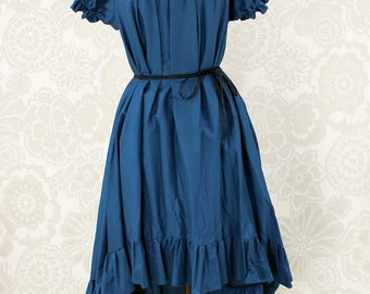 "Steampunk Ragamuffin Dress with Cora Sleeves in Prussian Blue Teal Cotton -- Size Medium, Fits Bust 36""-42"" -- Ready to Ship"