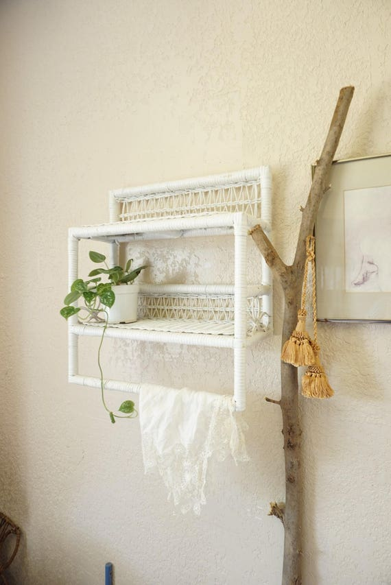 Vintage White Wicker Rattan Wall Hanging Two Tiered Shelf With