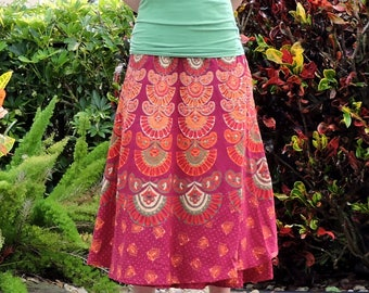 Burgundy Wrap Skirt, Long Indian Sarong, Festival Clothing, Boho Hand Sequined Maxi Skirt, High Waisted Skirt, Paisley Floral Cover Up
