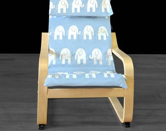 Blue Elephant Kids Ikea Poang Seat Cover, Childrens Nursery Ikea Chair Cover