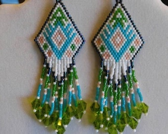 Native American Style Arrow Beaded Earrings Turquoise & Green Crystals Southwestern Hippie Boho, Gypsy, Brick Stitch Peyote, Ready to Ship