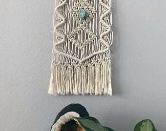 Macrame Driftwood Wall Hanging // Boho Home Decor, Tribal Jungalow Wall Art Textile, Turquoise Amazonite Stone Crystal, Bohemian Nursery