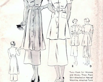 Wonderful Unused Vintage 1930s Butterick 7040 Peplum Tunic Frock Midi Skirt Two Piece Dress Sewing Pattern B32 W27