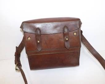 Vintage 1940s French Military brown leather satchel boxy box bag handbag brass hardware
