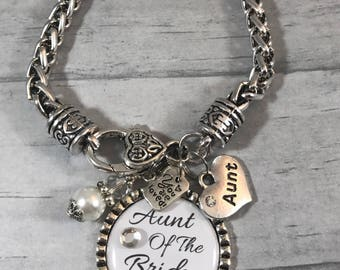AUNT of the Bride BRACELET. Aunt of Bride Gift. Gift from BRIDE. Bridal Shower Gift. Thank You Gift. Gift for Wedding Coordinator. Silver