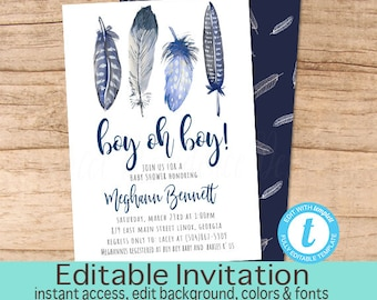 Adventure shower invitation, Baby Shower Invitation Boy Feather, Watercolor, Blue, Boho, Boho Feather Invitation, EDITABLE Instant Download