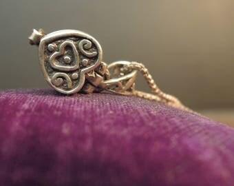 Vintage Sterling Silver Heart Locket / Sterling Silver Chain