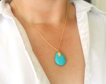 Golden Hamsa Turquoise Necklace, Hamsa Necklace, Hamsa Hand Necklace, Gold Turquoise Necklace, Gold Boho Necklace, Turquoise Boho Jewelry