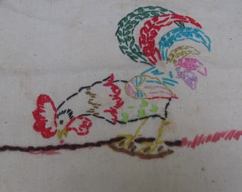 Hand Stitched Rooster Panel / Fabric Panel / Vintage Embroidery / Rooster Kitchen / Unframed Art / Kitchen Decor / Embroidered Rooster