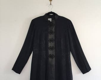 Vintage 80's Asian Style Duster Long Jacket L