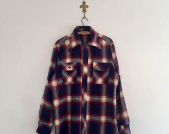Vintage 70's Wrangler Plaid Flannel Shirt Jacket L
