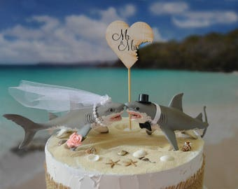 Great white shark wedding cake topper bride and groom shark lover beach destination San Jose sharks Mr & Mrs sign shark wedding diver decor
