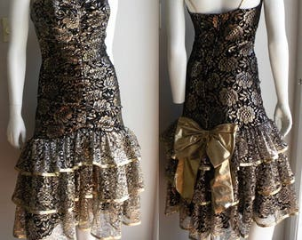80s Prom Dress in Black Lace with Sparkly Gold Tiered Giant Bow - M