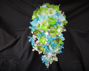 Blue, green, white cascade bouquet, real touch callas, silk orchids, beach wedding, destination wedding, turquoise, lime green