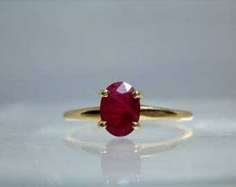 Vintage 14k Yellow Gold Natural Red Ruby Ring Size 8 Solitaire Prong Set 0.98 carat Oval Gemstone DanPickedMinerals