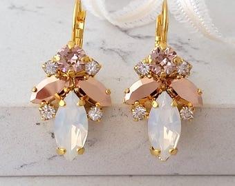 White opal gold earrings,Bridal earrings,Morganite rose gold earrings,Blush Bridal earrings,Swarovski earring,Bridal wedding jewelry