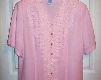 Vintage Ladies Pink Lace Trimmed Short Sleeve Blouse by Ship N Shore Size 14 Only 8 USD