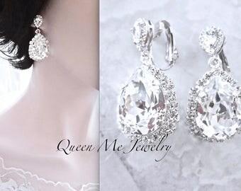 Clip on crystal earrings Clip-on's Bridal earrings Swarovski crystal earrings Wedding bridal jewelry teardrop Clip on earrings SOPHIA