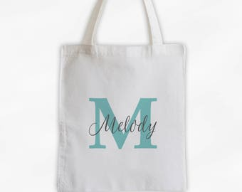 Initial and Script Name Cotton Canvas Personalized Tote Bag - Monogram Custom Gift in Robins Egg Blue and Gray  (3005)