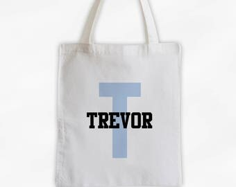 Initial and Name Cotton Canvas Personalized Tote Bag - Boys Monogram Sports Bag in Light Blue and Black  (3006)