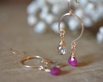 Ruby and Lemon Quartz Dangle Earrings