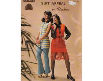 1970s Patons Book 130 Suit Appeal by Beehive Knitting Pattern Book Womens Fringed Vests Bell Bottoms Skirt Sets, Children Outfits Crochet