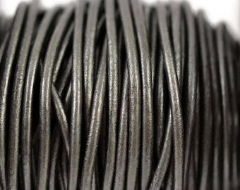 2mm Metallic Gunmetal Grey Leather Round Cord - Your Choice of Length from Available Options