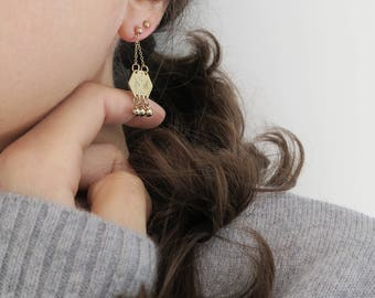 CADIX gold filled engraved ethnic earrings