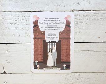 Romantic Whimsical Rustic Floral, Illustrated Bride and Groom, Custom Wedding Invitations, Wedding Suite, Invitation Sets, Invite Sample